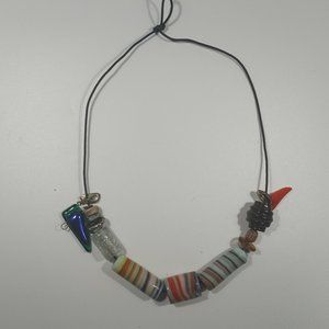 Vintage African Tribal Beaded  Knotted Necklace